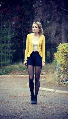 36 Stylish Outfit Ideas with Shorts and Tights : yellow cardigan white blouse black mini skirt with boots Skirts With Boots, Shorts With Tights, Tights Outfit, Mini Skirts, Navy Shorts, Black Shorts, Leggings, Pantyhose Outfits, Black Pantyhose