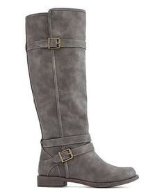 Timeless tall boot style merges with gleaming buckled beauty in this tough faux leather stepper. Grey Shoes, Women's Shoes, Tall Boots, Fashion Boots, Riding Boots, Footwear, Pairs, Zip, Gray