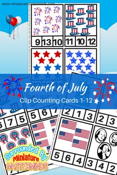 Fourth of july clip counting cards numbers preschool, free preschool, presc Numbers Preschool, Free Preschool, Preschool Crafts, Independence Day Theme, Fourth Of July Crafts For Kids, Kindergarten Activities, Autism Activities, Book Activities, Memorial Day