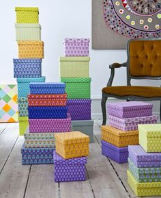 "boxes- cover shoeboxes etc in pretty fabric or paper for cheap and beautiful storage for ""stuff""- i have lots of ""stuff"""