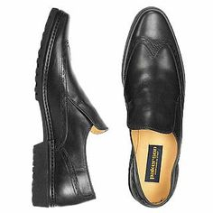 Black Italian Hand Made Leather Wingtip Loafer Shoes - An exquisite combination of elegance and comfort, these Pakerson wing-tip loafers are hand made with supple Italian leather and feature a special lightweight rubber sole that makes them as light as a feather. Dust bag included, Made in Italy