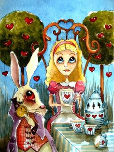 Alice in Wonderland and the Rabbit PRINT by stressiecat on Etsy