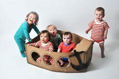 Piratenboot aus Pappkarton