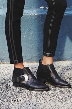 Maverick Chelsea Boot | Free People Western-inspired leather ankle boots featuring an adjustable etched metal buckle accent.