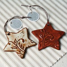 Handmade ceramic christmas ornaments Eco Stars by kylieparry
