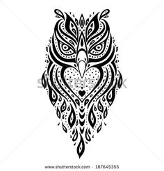 Tribal Flying Owl Drawing - ClipartXtras
