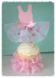 Ballet Tutu Cupcake Toppers sistema de cuatro para por JeanKnee