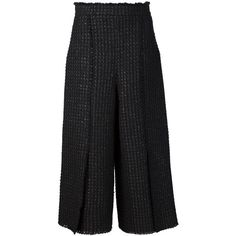 Proenza Schouler Tweed Culottes (69,630 PHP) ❤ liked on Polyvore featuring shorts, bottoms, kirna zabete, pants, highwaist shorts, pleated shorts, black shorts, black culottes and black tweed shorts