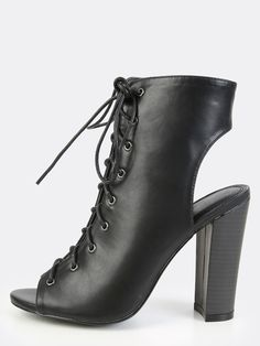 Lace Up Chunky Heel Ankle Boots BLACK