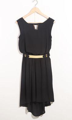 Black High Waist Tank Chiffon With Belt Asymmetrical Dress