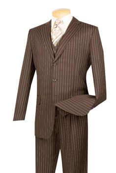SKU Mens Brown With Cream Pinstripe Vested 3 Piece three piece suit - Jacket + Pants + Vest Three Piece Suit For Man, Mens 3 Piece Suits, Mens Suits, Groom Suits, Groom Attire, Black Tie Suit, Pinstripe Suit, Banker Stripes, Double Breasted Vest