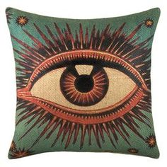 """Add a touch of exotic allure to your sofa, settee, or bed with this eye-catching pillow.     Product: PillowConstruction Material: 100% BurlapColor: Turquoise and multiFeatures: Insert includedDimensions: 16"""" x 16"""""""