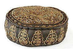 Constance Pouf, Gray/shimmering Gold embroidery on OneKingsLane.com