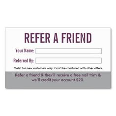 Grooming customer referral cards