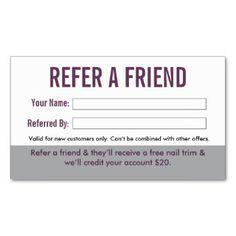 Grooming customer referral cards                              …