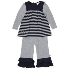 Girls Stripe Navy & Gray Pant Set – Lolly Wolly Doodle