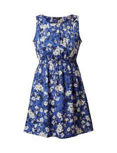 Blue Floral Print Skater Dress | New Look