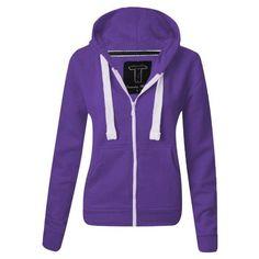 WOMENS PLAIN HOODIE LADIES HOODED ZIP ZIPPER TOP SWEAT SHIRT JACKET... ($3.30) ❤ liked on Polyvore featuring tops and hoodies