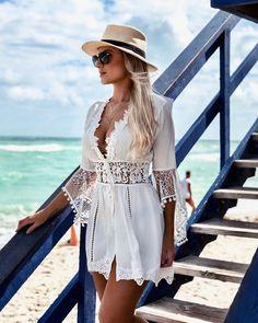 Segue o Verão 💦💦 Badebekleidung vertuschen Beach Dresses, Casual Dresses, Summer Dresses, Boho Fashion, Fashion Dresses, Womens Fashion, Fashion Glamour, 40s Fashion, Chic Outfits