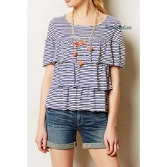 Anthropologie top Blue & white stripes tiered, 9-H15 STCL ruffle top of Anthropologie. EUC Anthropologie Tops Blouses