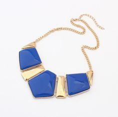N233 Women Retro Statement Fashion Rhombus Gems Necklace Vintage Bib Necklace & Pendants Chain Collar Party Necklace #1865