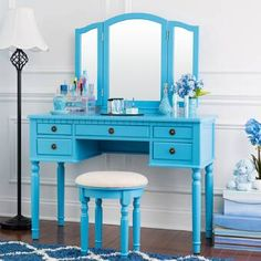 Fineboard Wooden Vanity Set, Dressing Table with 3 Mirrors and Stool, Four Drawer Make up Table, Blue Wood Makeup Vanity, Wooden Vanity, Vintage Vanity, Makeup Stool, Blue Dressing Tables, Dressing Table With Stool, Spiegel Design, Contemporary Vanity, Vanity Set With Mirror