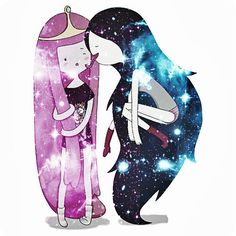 Adventure Time | Princess Bubblegum & Marceline | White Men's or Women's Custom Tshirt | XS - 3XL