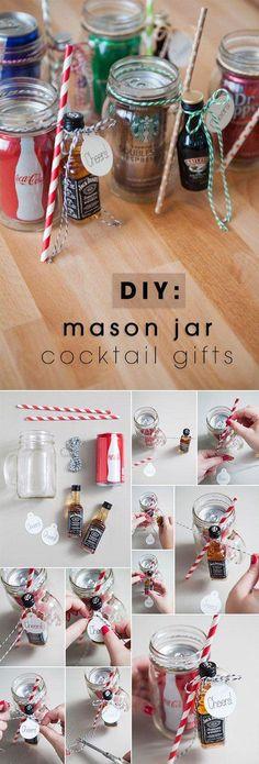 the original diy mason jar cocktail gifts super cute food kids and crafts pinterest. Black Bedroom Furniture Sets. Home Design Ideas