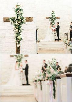 wood cross with flowers indoor wedding backdrop / http://www.deerpearlflowers.com/christian-wedding-corss-ideas/
