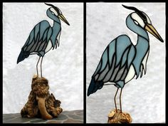 Blue Heron Stained Glass Sculpture on Burl Wood by BerlinGlass, $89.00 This is truly beautiful handmade work here. The base again just adds so much more for the nature setting.