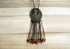 Antique copper necklace with ceramic beads by JullMade on Etsy, $29.00