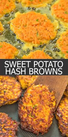 Homemade sweet potato hash browns are a great way to start any day! Fry them up and top them with a poached egg or serve them alongside a full breakfast. You cant go wrong in any case. Cooktoria for more deliciousness! Veggie Dishes, Vegetable Recipes, Vegetarian Recipes, Healthy Recipes, Vegetarian Hash, Seitan Recipes, Smoker Recipes, Curry Recipes, Tasty Videos