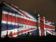 Buckingham Palace lit up for the Queen's Diamond Jubilee.