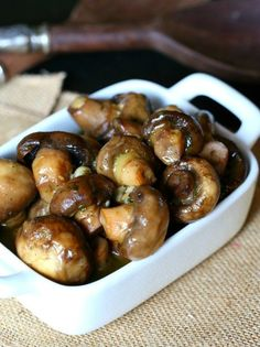 These Slow Cooker Garlic Ranch Mushrooms are loaded with flavor and ridiculously easy to make! Use them as a sidedish, on top of a steak or even on pasta!  #pinarecipefeedachild #challengebutter