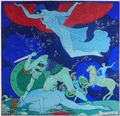 By Georges Barbier (1882-1932), Les Bienfaits de la Paix (The Benefits of Peace), color stencil prints, Paris,