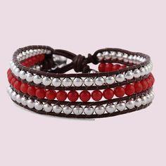 Leather Stone Bracelet Beadwork Bead Weaving Bangle Bracelet Semi Precious Stone Leather Bracelet,Three Rows Stone Bracelet