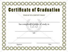 Graduation Certificate Template  Graduation Certificate