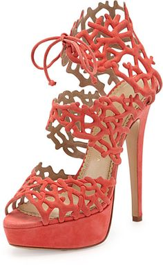 The summer heel to end all summer heels. Good Gracious Sandal, Coral by Charlotte Olympia at Neiman Marcus. Coral Shoes, Coral Sandals, Sandals Outfit, Shoes Sandals, Tie Shoes, Suede Sandals, Black Sandals, Charlotte Olympia, Summer Heels