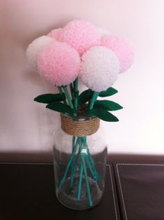 Pink & white pompom flowers in glass jar https://www.facebook.com/AndiesAccessories/photos/a.1075552895804758.1073741886.251860708173985/1087317454628302/?type=3&theater