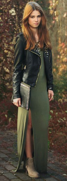 killer studs - love the soft look of the maxi dress with the studded jacket and accessories