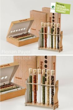 Ideas de Regalos Corporativos // Reusable, sustainable packaging design for spices filled in glass tubes. The completely cut-out holes allow a look at the spices inside the closed box.