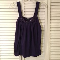 *LAST CHANCE* Express beaded tank top Super fun purple cotton tank top with beaded detail at neck. Color best represented in photo with label. Runs a little large. Some fading at underarms (pictured), otherwise in good condition.  Price reflects condition. Express Tops Tank Tops