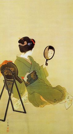 A woman admiring the reflection in her mirror, Japan, by Uemura Shoen. Shoen was the first woman to receive the Order Of Cultural Merit from the Japanese government in Art And Illustration, Botanical Illustration, Samurai, Art Chinois, Japan Painting, Art Asiatique, Art Japonais, Japanese Prints, Japan Art