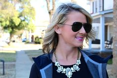 simple black and white look // necklace from Olive + Piper