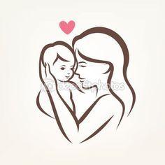 Silhueta vector estilizado, mãe e filho, esboçado esboço de mo — Ilustração de Stock #72987695