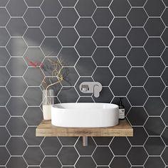 British Ceramic Tile Hex black matt tile x Style Tile, Hexagon Tile Floor, Tiles Uk, Hex Tile, Bathroom Wall Tile, Ceramic Tiles, Bathroom Flooring, Cheap Bathroom Flooring, Painting Bathroom Tiles