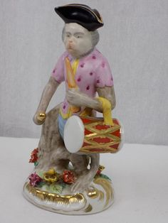 Antique Porcelain Monkey Orchestra Band - Drummer - Meissen Style ?