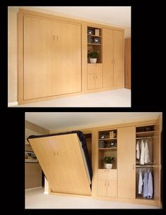 Anigre Wall Bed - Double Shot from Valet Custom Cabinets & Closets #wallbeds #murphybeds #homedecor