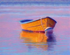 """Daily Paintworks - """"Bright Yellow Boat"""" - Original Fine Art for Sale - © Nancy Poucher"""