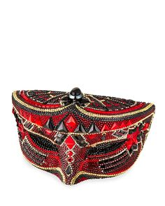 Crystal Mask Minaudiere, Red/Black - Judith Leiber Couture